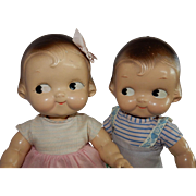 "CUTE Pair of 12"" American Composition Campbell Kids Boy and Girl by Horseman"