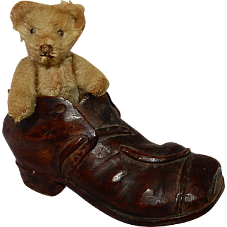 """WONDERFUL 3.5"""" Very Early and Old Teddy Bear in a Hand Carved Folk Art Shoe"""