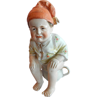 GREAT Larger Size German Bisque Figurine Boy on the Pot