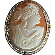 BEAUTIFUL 14K Gold Victorian Carved Shell Anchor of Hope Cameo