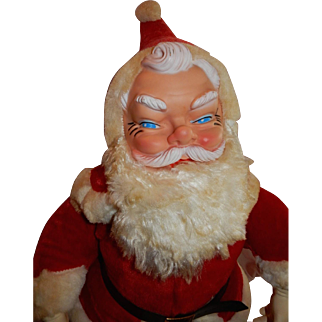"""CHEERFUL and large 23"""" 1950's -60's Plush My Toy Sana Claus Doll"""