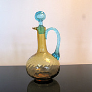 Antique Amber and Turquoise Reverse Swirl Art Glass Cruet w/Stopper