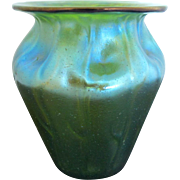 Iridescent Blue Green 19th Century Loetz Creta Neptun Flared Lip Art Glass Vase