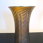 Vintage Signed NASH Iridescent Gold Art Glass Flared Lip Vase