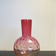 Vintage Amberina Thumbprint Art Glass Vase
