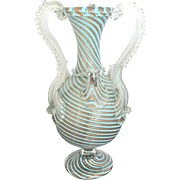 Unique Venetian MURANO Gold Mica and Turquoise Art Glass Vase
