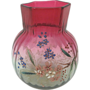 Amberina Art Glass Vase with Enamel Flowers