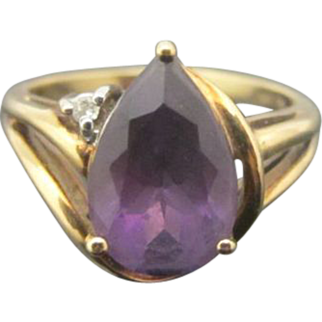 Teardrop Amethyst and Diamond 10k Gold Ring