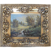 Signed W A Carson Prairie Stream Framed Original Oil Painting on Canvas
