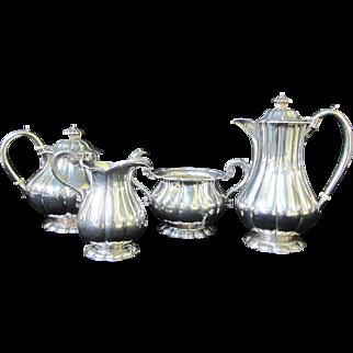 English STERLING Silver London 1913 Melon Ribbed COFFEE Tea Sugar Cream Set