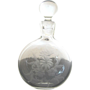 Vintage Chinese Floral Etched Crystal Perfume Bottle