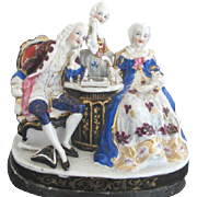 19th Century Hand Painted German Porcelain Figural Chess Players Hidden Inkwell
