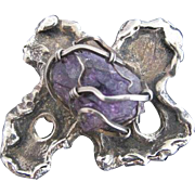 Vintage Sterling Silver Caged Amethyst Arthur King Modernist Brooch Pin Pendant