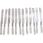 LANDERS Frary Clark 12pc Mother of Pearl MOP Sterling Band DINNER KNIFE Set