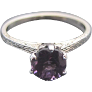 Vintage 18k White ENGRAVED Gold Purple AMETHYST Dainty Solitaire Ring