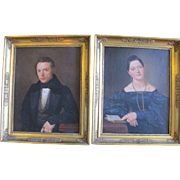 Antique Set of 2 AMERICAN Empire Period Oil Painting PORTRAITS Gold Gilt Frame