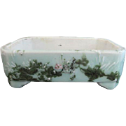 Antique Chinese Qing Dynasty Green Celadon Floral Painted Bonsai Planter Vase