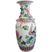 Qing Dynasty Chinese Nyonya Nonya Ware Porcelain Peacock & Blossom Antique Vase