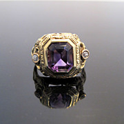 Antique Filigree Amethyst Ring with Diamond Accents