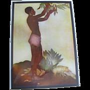 Breadfruit Boy Hawaiian Greetings Aquatint Art c1942 by John Melville Kelly