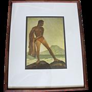 Net Fisherman HAWAIIAN Greetings Aquatint Art c1945 by JOHN Melville KELLY