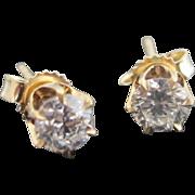 Classic 14k Yellow Gold .375ct Diamond Post Stud Earrings Simple But BEAUTIFUL!