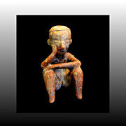 Seated Mayan Man Clay Figurine