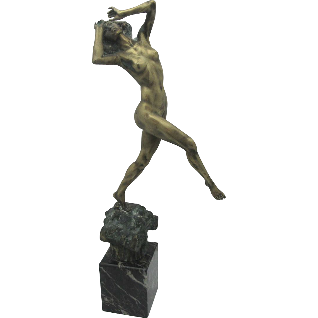 Art Deco French Bronze Statue of Beautiful Nude Woman with