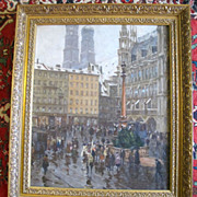 Munich Street Scene Oil Painting on Canvas by Charles Vetter c1936