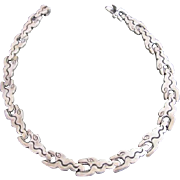 Unique TAXCO Sterling Silver SERPENT Head Chain Collar Necklace