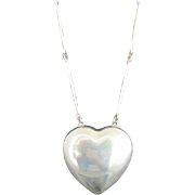 GEORG JENSEN Denmark Sterling Silver LARGE Joy HEART Astrid Fog Necklace #126