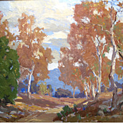 Sycamores Attributed to Marion Kavanaugh Wachtel Forest Landscape Oil Painting on Canvas
