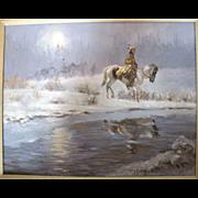 Native American Framed Original in a Night Snow Scene Oil Painting by Glen S. Hopkinson