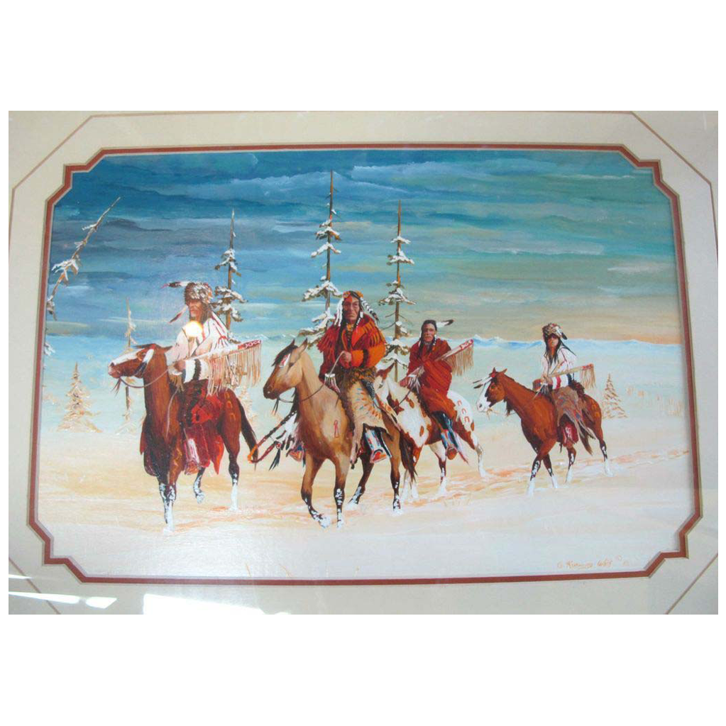 Acrylic painting on paper framed native american art by for Acrylic painting on paper tips