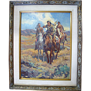 """Native American Framed Western Scene Oil Painting """"Looking for Game"""" by Newman Myrah"""