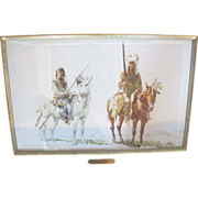 "Watercolor Painting of 2 Indians on Horses ""Piegan Dandies"" by Frank Hagel"