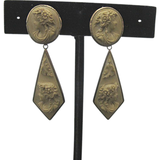 Victorian Lava Stone Cameo Drop Earrings Set in Sterling Silver with 14K Gold Posts