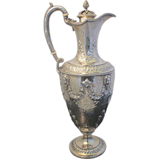 Large Victorian Sterling Silver Martin Hall & Co. c1867 Ornate Claret Pitcher