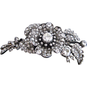 Gorgeous Old European Cut Diamond & Victorian Silver Floral Brooch Pin