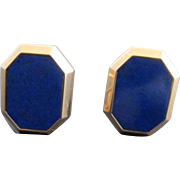 Cobalt Blue LAPIS Lazuli 14k Yello Gold Clip-On OCTAGONAL Post Earrings