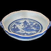 Antique Canton Blue Lage  Chinese Casserole Porcelain Serving Bowl