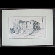 Oregon Artist Charles Reynolds ORIGINAL Sketch Art of Old Territorial Prison