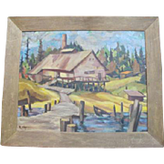 Pacific NW Oil Painting Signed R JOY of Boat Dock PACIFIC City CANNERY Scene