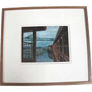 Lli Wilburn Original Ink Dye & Graphite Framed Art Painting of ASTORIA Bridge