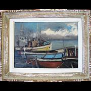 Original Sailing Boats in Rio de Janeiro Framed Oil Painting Signed AC Meireles