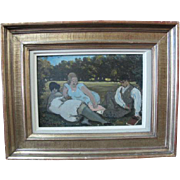FINE Original 19th Century Erotic Oil Painting of a Man & Two Ladies SIGNED