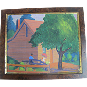 Original Oil Painting by Oregonian Martina Gangle Curl of Couple at Rustic Cabin