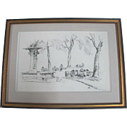 Original Charles Reynolds Pen Sketch Framed Art of Skidmore Fountain Portland OR