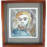 Oregon Artist Nelson Sandgren Original Watercolor Portrait Painting of a Boy