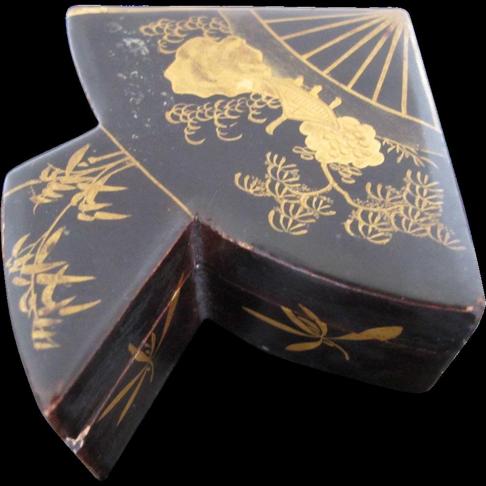 Unique Black Lacquer Wood Asian Fan Shaped Miniature Box
